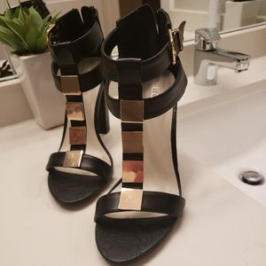 Aldo gold and black block heel